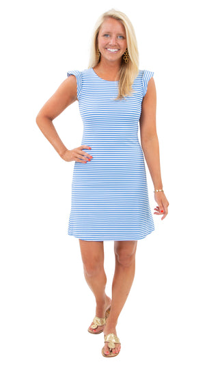 Jojo Dress - Azure/White Stripe