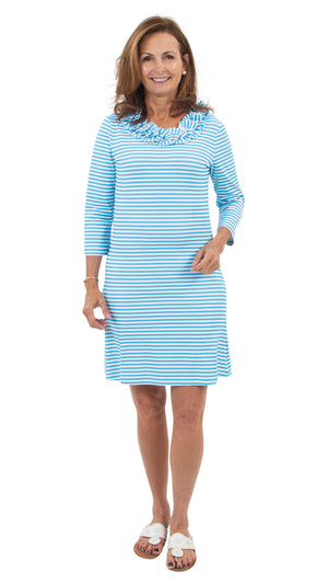Cricket Dress - Aquarius/White Stripe