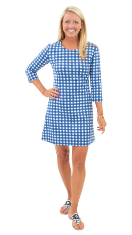 Grace Dress - Picnic Check Navy/White