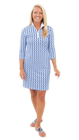 Britt Dress 3/4 Sleeve - Geo Blue/Azure - FINAL SALE