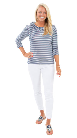 Cricket Top - White/Navy Stripe - FINAL SALE