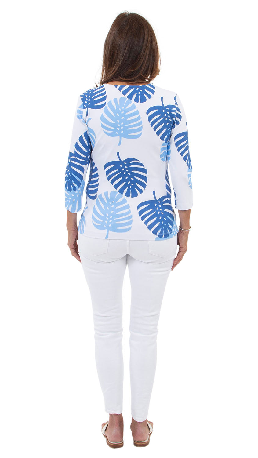 Crew Tee - Blue Dancing Palms