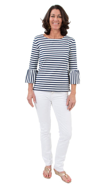 Haley Top - White/Navy WIDE stripe