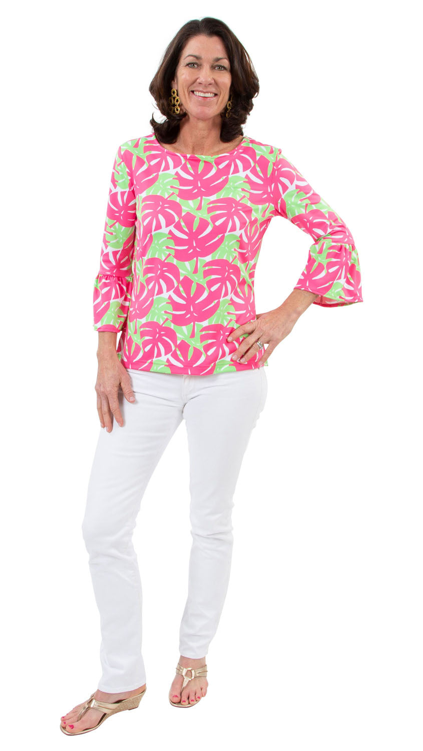 Haley Top - Pink/Green Dancing Palms- SAMPLE FINAL SALE