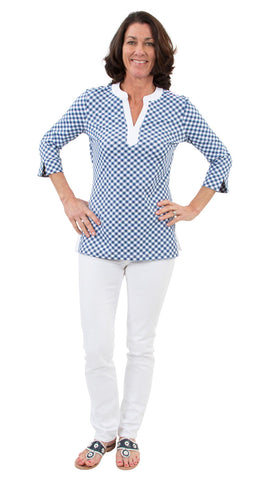 Megan Tunic - White/Navy Gingham
