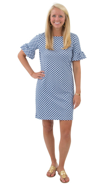 Dockside Dress - White/Navy Gingham
