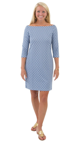 Islander Dress - White/Navy Gingham
