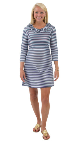 Cricket Dress - White/Navy Stripes