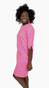 Yacht Club Dress 3/4 - Resort Hibiscus Coral/Pink