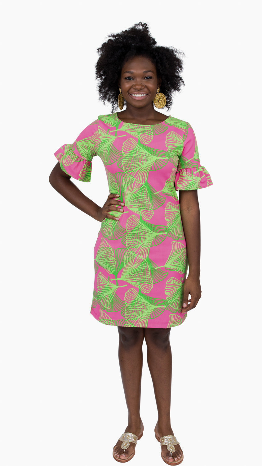 Dockside Dress - Large Gingko Pink/Green- SAMPLE FINAL SALE
