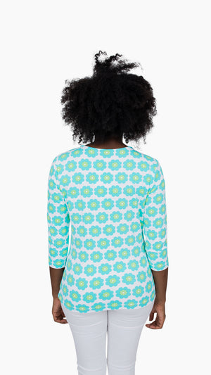 Crew Tee - Pocket Full of Daisies Blue/Green