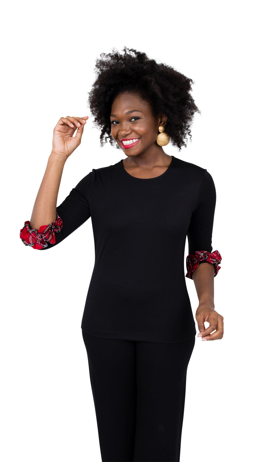Caroline Top - Black With Red Plaid- FINAL SALE