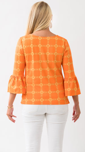 Haley Top - Orange/Gold Autumn Chain