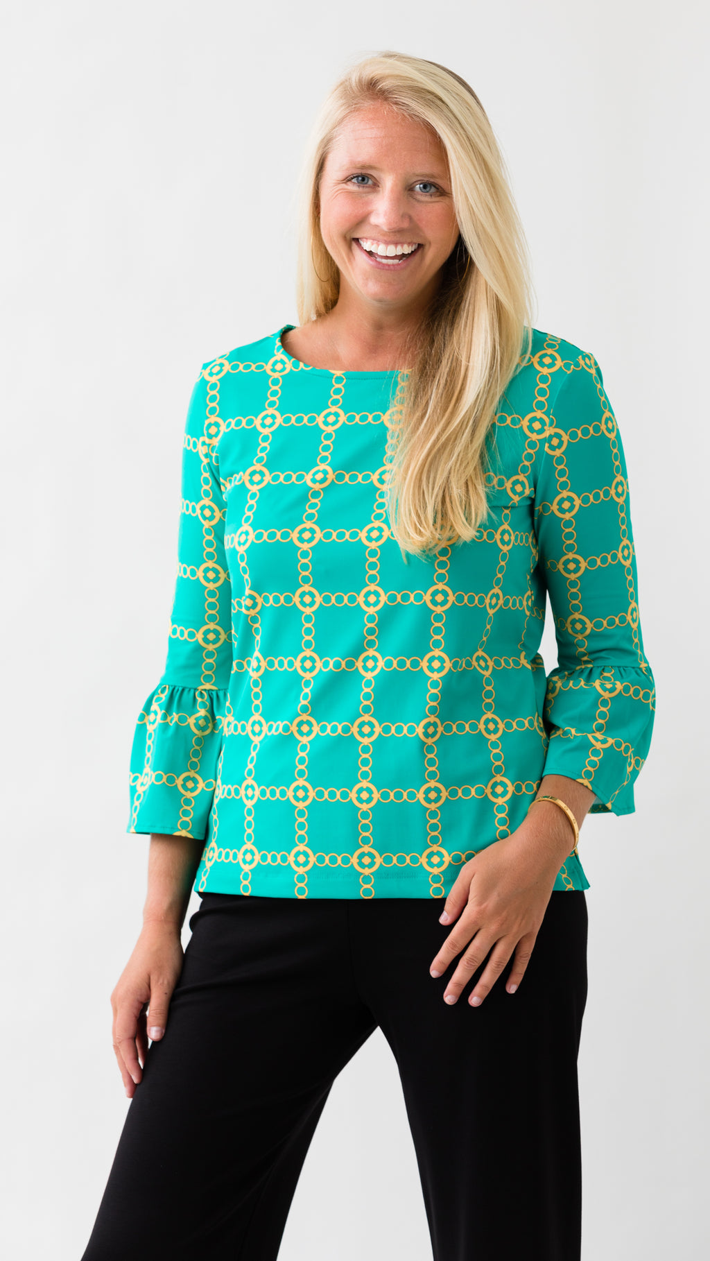 Haley Top - Green/Gold Autumn Chain FINAL SALE
