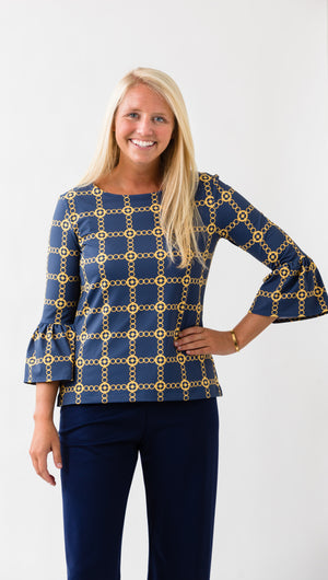 Haley Top - Navy/Gold Autumn Chain