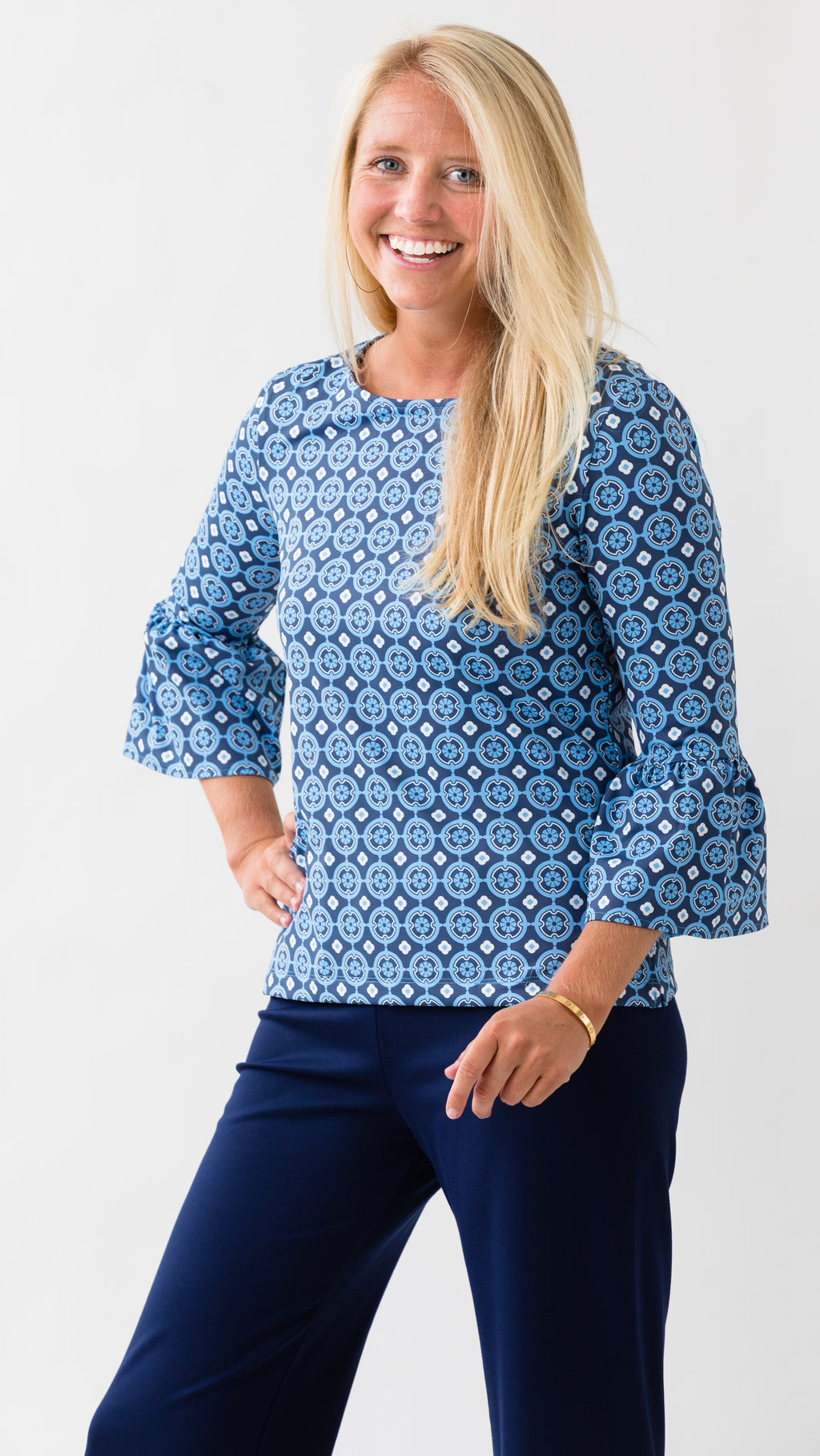 Haley Top - Blue/Navy Medallion