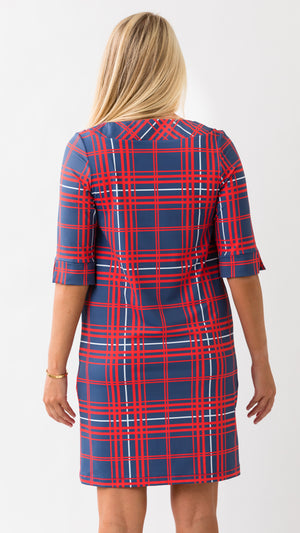 Yacht Club Dress 3/4 - Navy/Red Winter Plaid