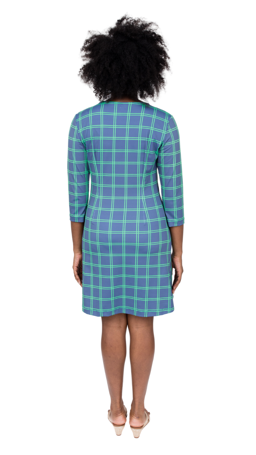 Grace Dress- Navy/Green Window pane FINAL SALE