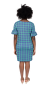 Dockside Dress- Navy/Green Window pane