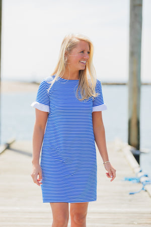 Coco Dress - Royal/White Stripe - FINAL SALE
