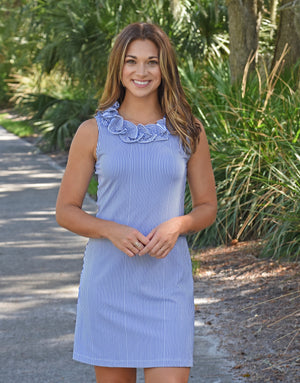 Cricket Sleeveless Dress - Navy/White Pinstripe
