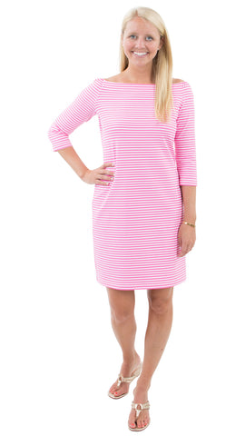 Islander Dress - Pink/White Stripe