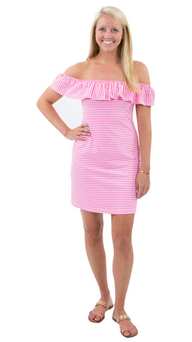 Shoreline Dress - Pink/ White Stripes