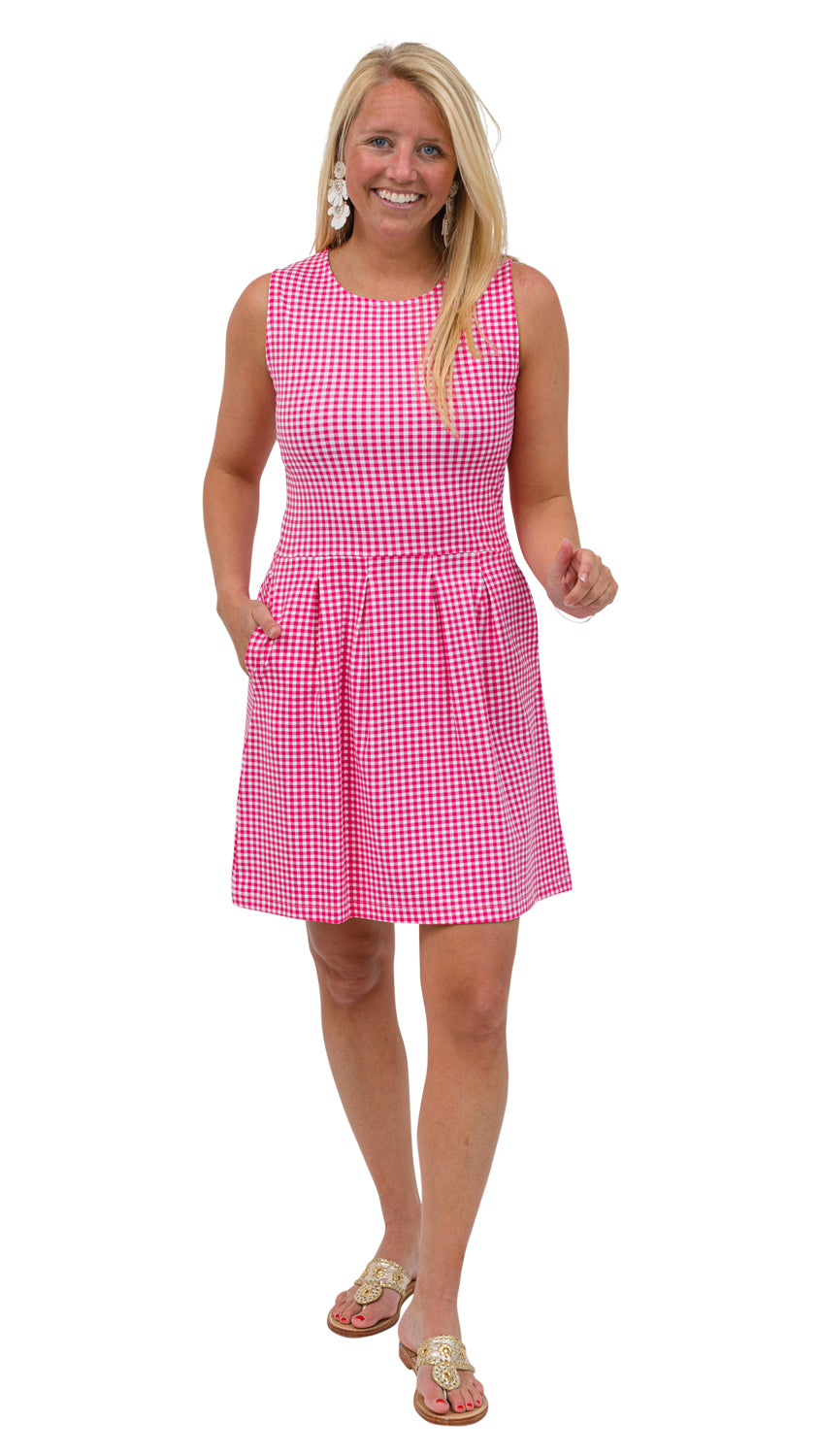 Boardwalk Dress - Magenta Small Check