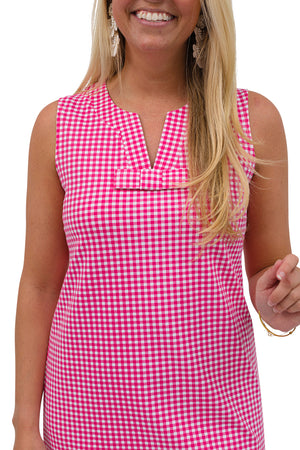 Lucy Dress Sleeveless - Magenta Small Check