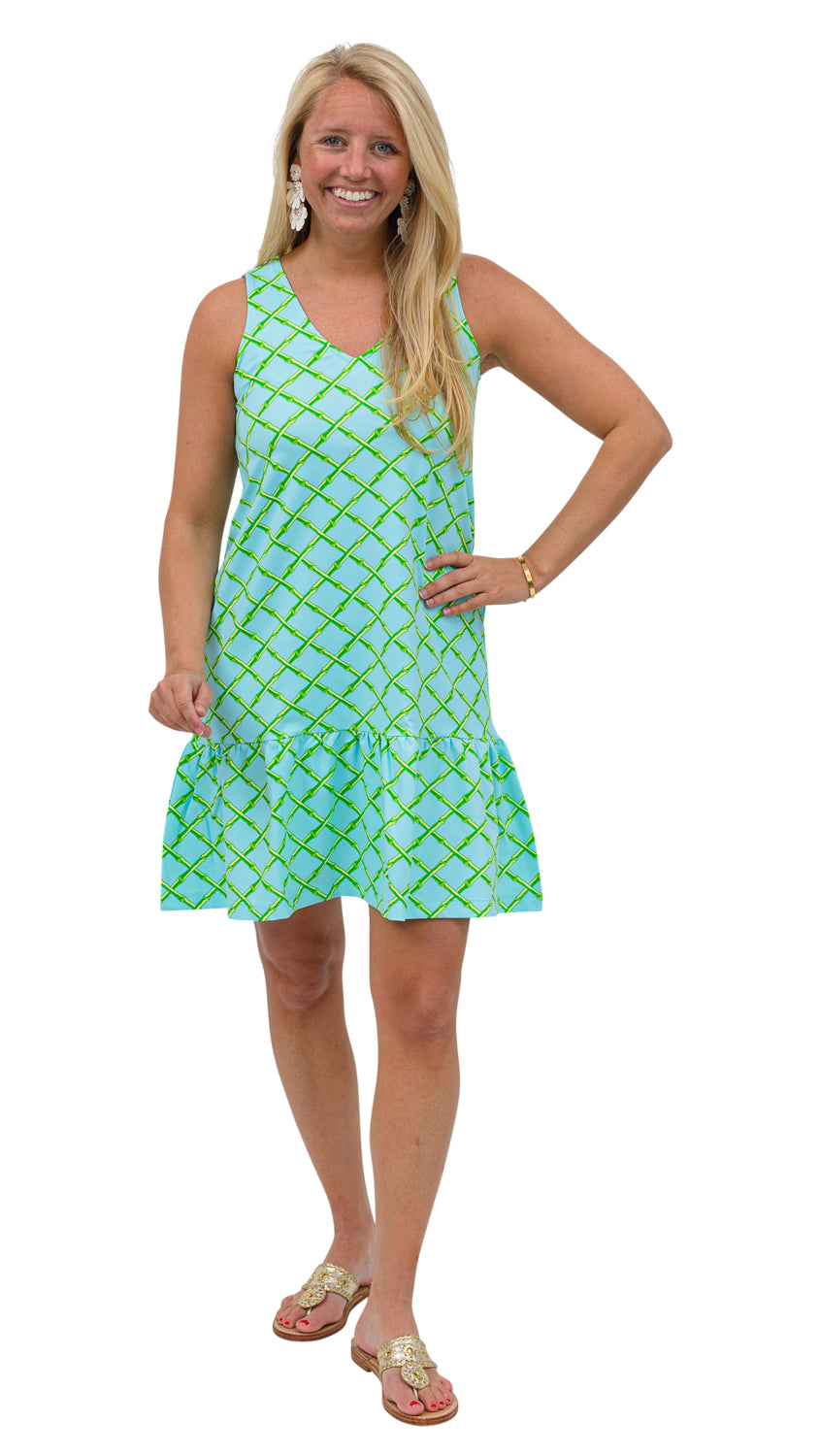 Ellie Dress - Turq/Green Bamboo Lattice