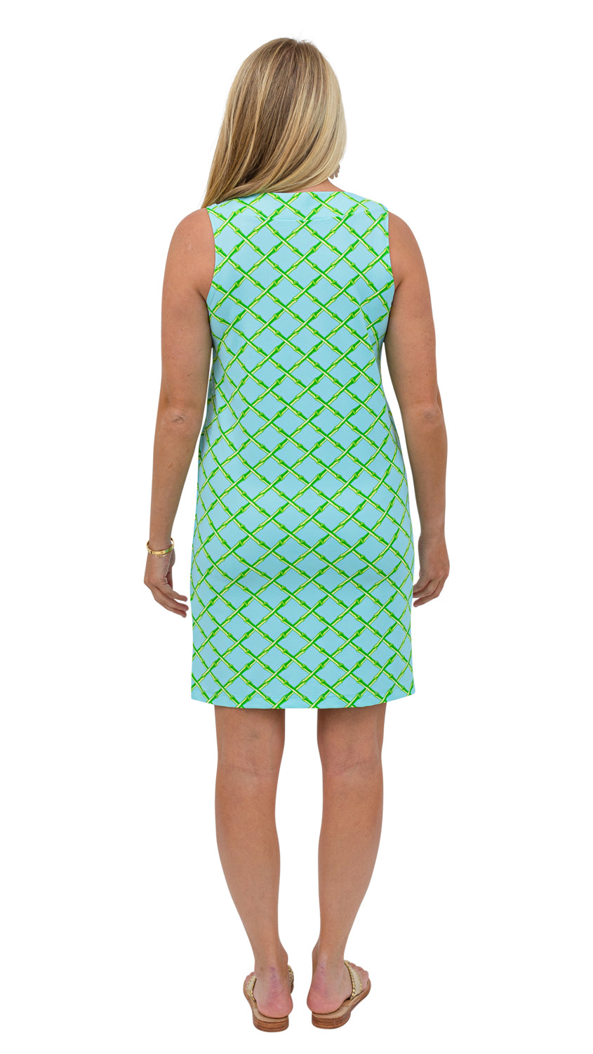 Yacht Club Shift - Turq/Green Bamboo Lattice