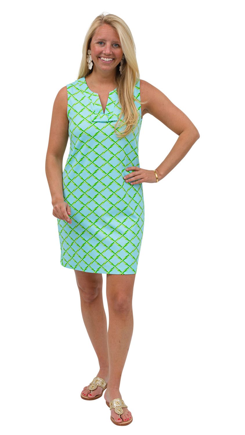 Lucy Dress Sleeveless-Turq/Green Bamboo Lattice
