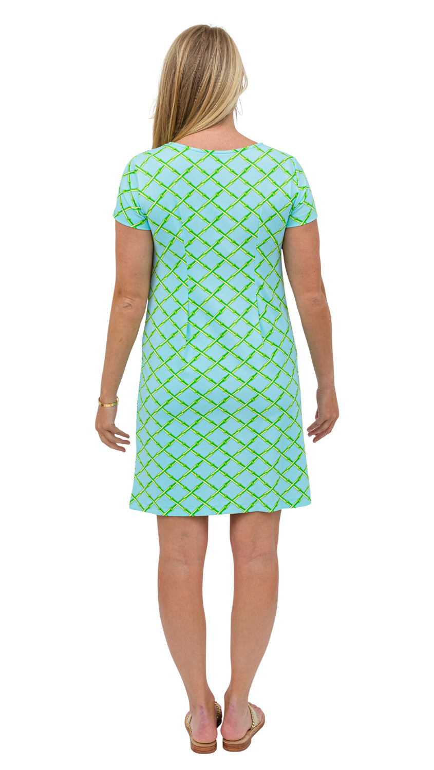 Marina Dress - Turq/Green Bamboo Lattice