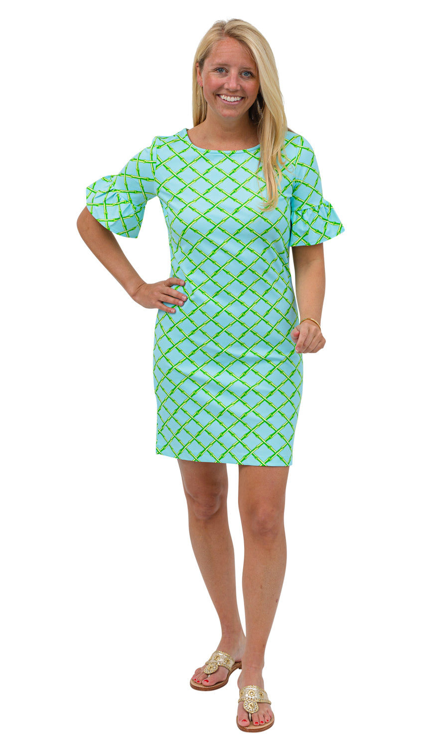 Dockside Dress - Turq/Green Bamboo Lattice