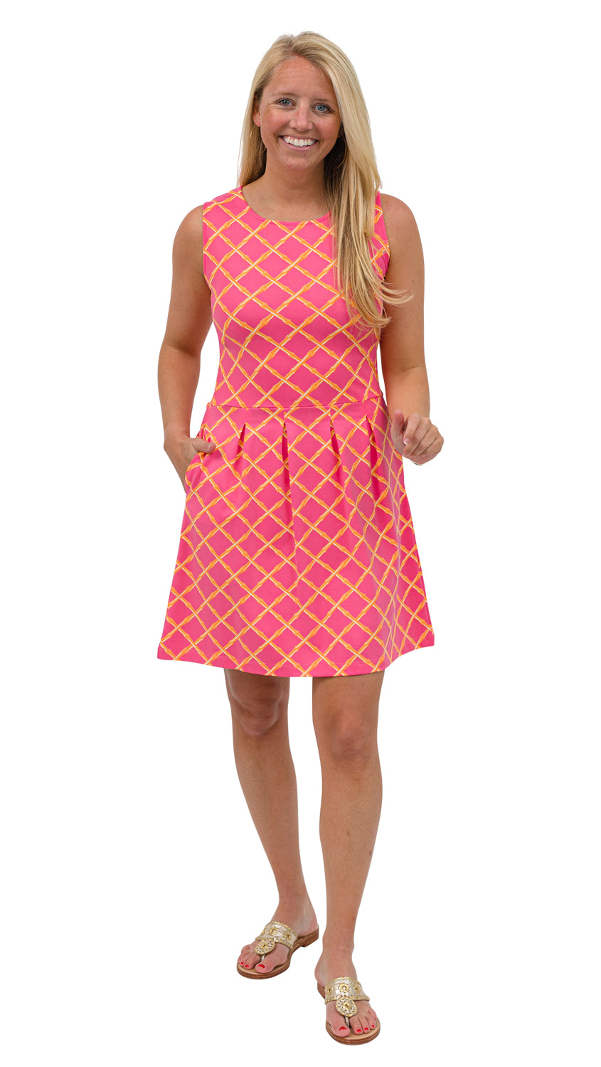 Boardwalk Dress - Pink/Orange Bamboo Lattice