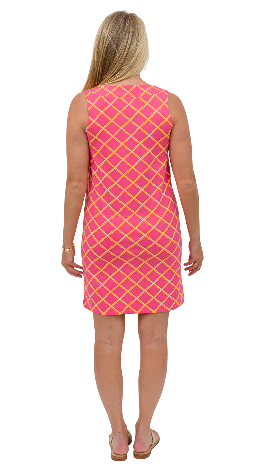 Yacht Club Shift - Pink/Orange Bamboo Lattice