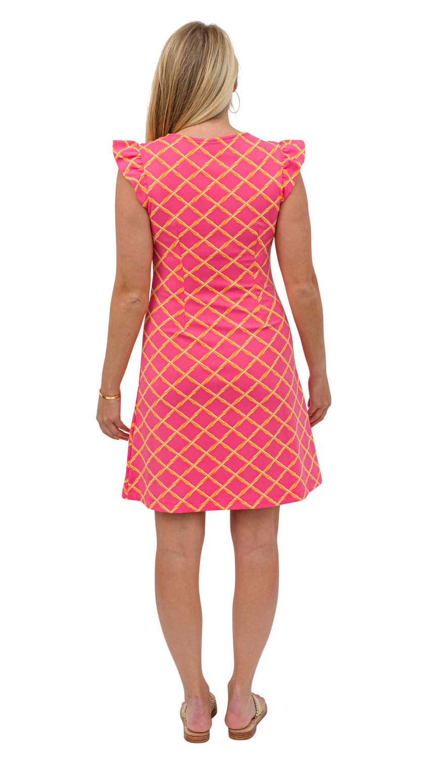 Jojo Dress - Pink/Orange Bamboo Lattice