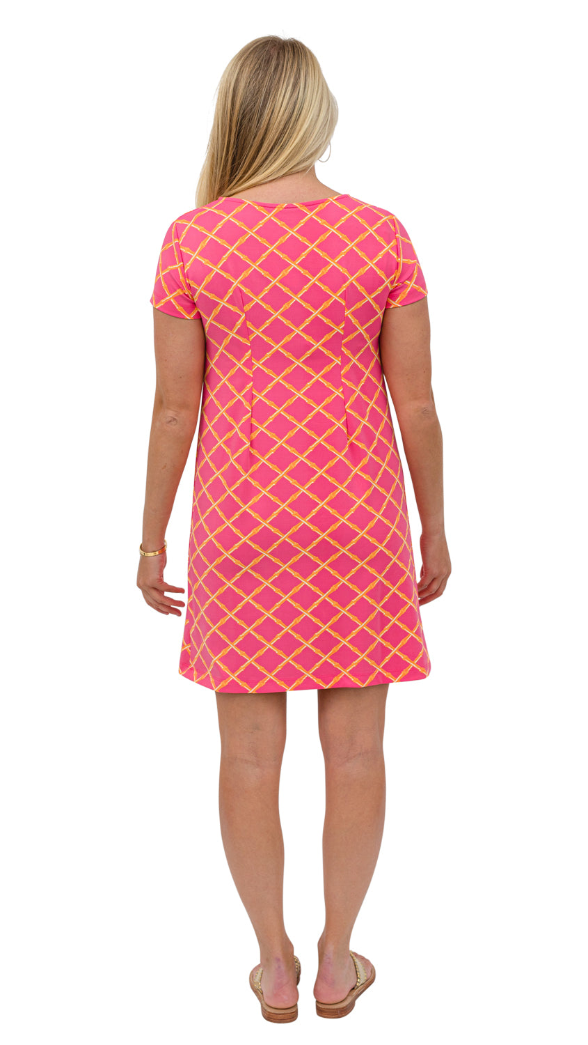 Marina Dress - Pink/Orange Bamboo Lattice