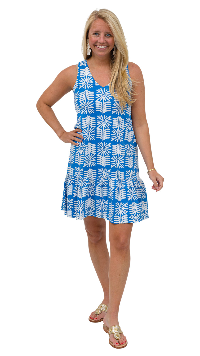 Ellie Dress - Blue/White Montauk Daisy