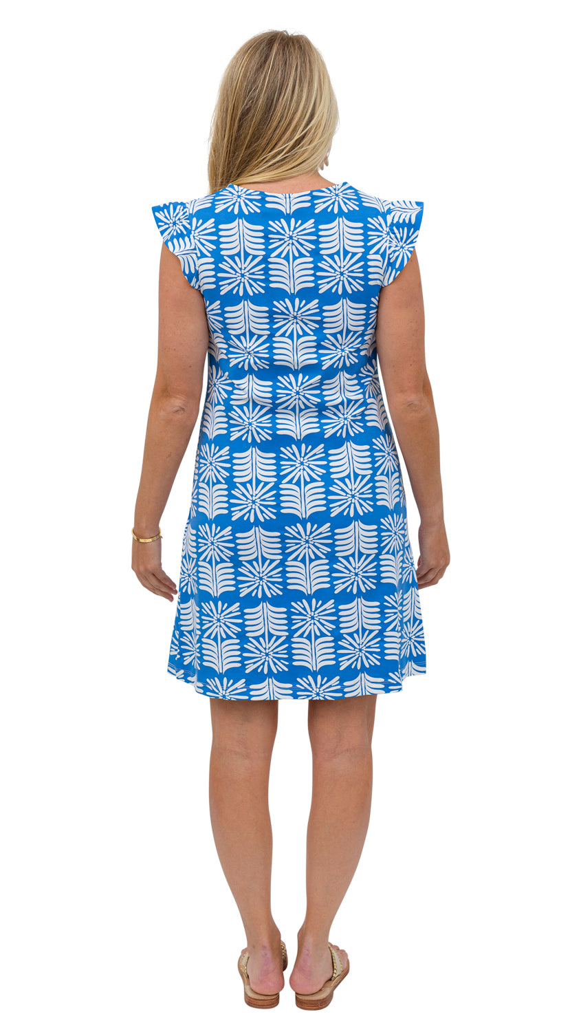 Jojo Dress - Blue/White Montauk Daisy