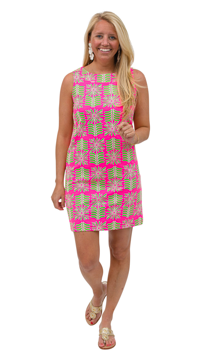 Yacht Club Shift - Pink/Green Montauk Daisy