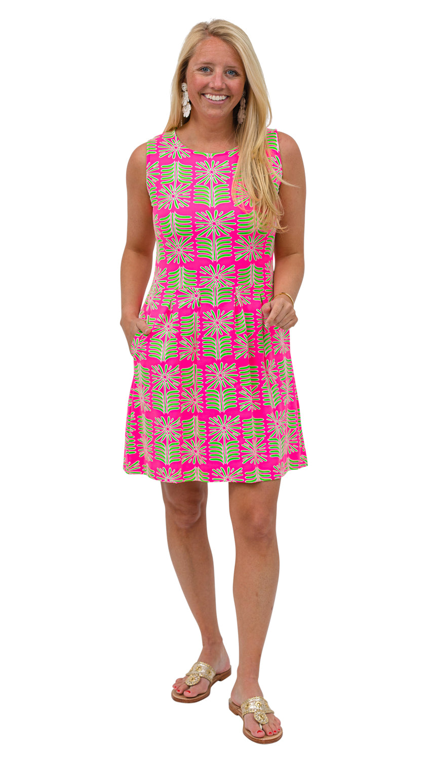 Boardwalk Dress - Pink/Green Montauk Daisy