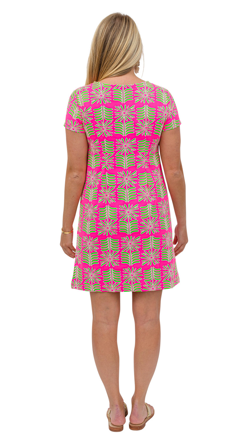 Marina Dress - Pink/Green Montauk Daisy
