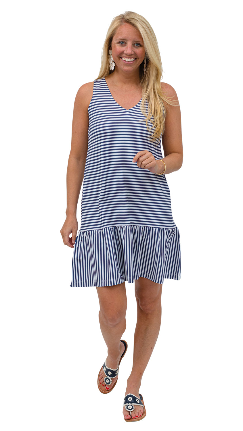 Ellie Dress - Navy/White Stripe