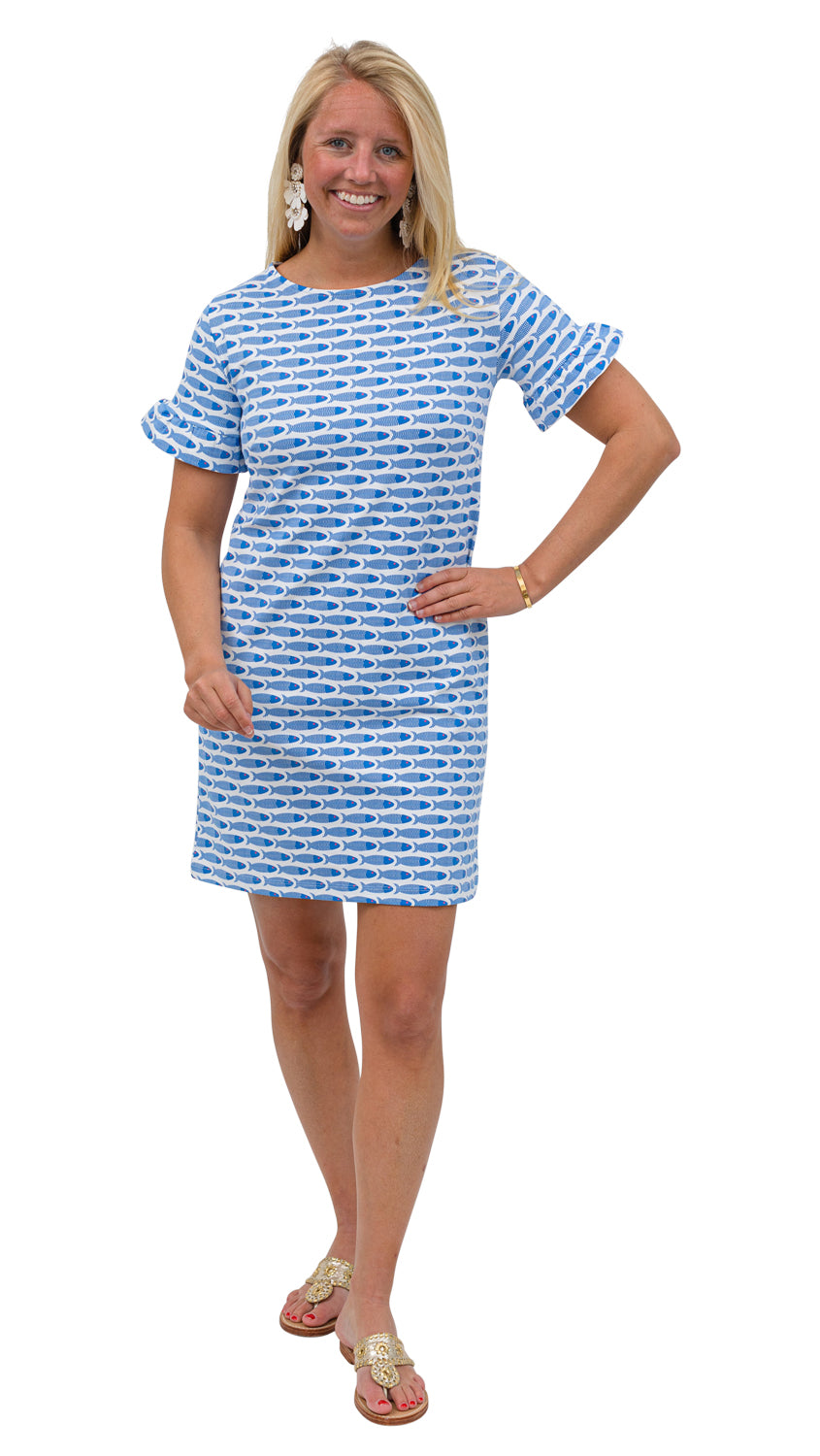 Coco Dress - Blue/Pink School of Fish