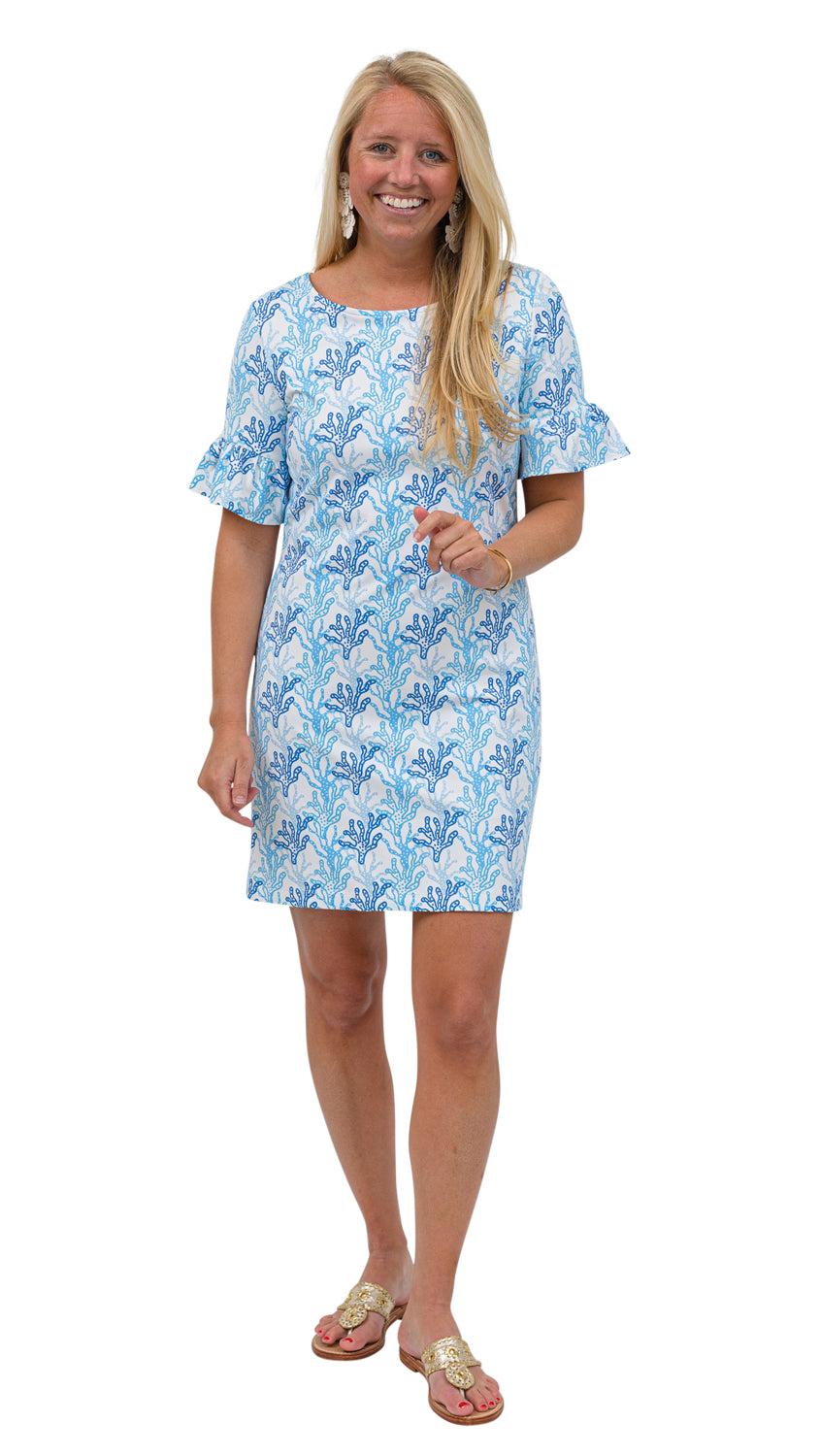 Dockside Dress - Blue/White Coral Reef