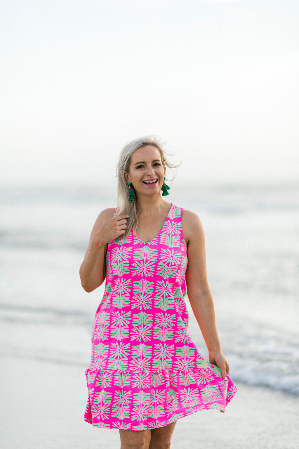 Ellie Dress - Pink/Green Montauk Daisy