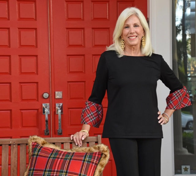 Haley Top - Black/Red Plaid Cuff
