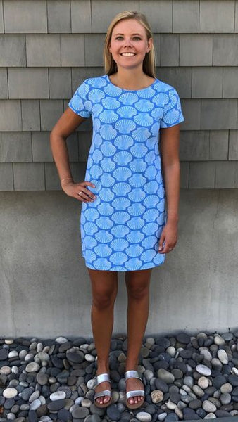 Marina Dress - Scallop Shell 2 Blue-Final Sale