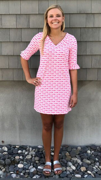 Catalina Dress - Fish Pink/Lime - Final Sale